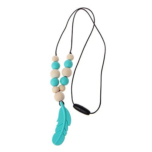 Lyguy, Collar de mordedor de silicona para bebé, diseño de pluma, color azul claro