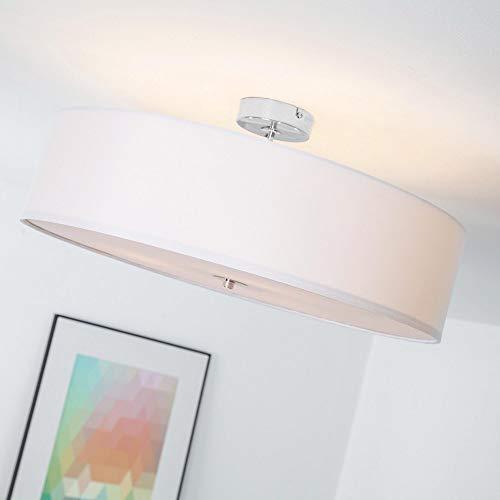 Lightbox Deckenleuchte 3 flammig, Deckenlampe mit Textilschirm, Ø 60 cm, E27 Fassung für max. 60 Watt Leuchtmittel, Metall/Textil - Weiß/Chrom