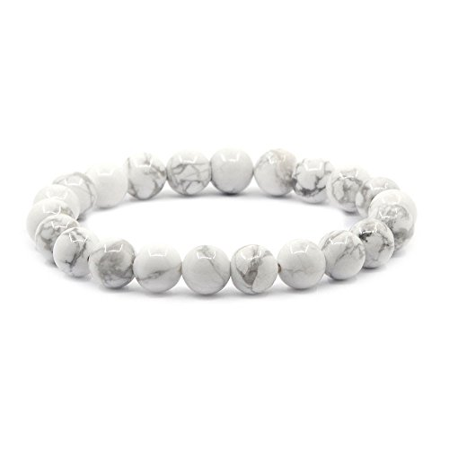 Justinstones Natural White Howlite Gemstone 8mm Round Beads Stretch Bracelet 7 Inch Unisex