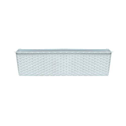 Prosperplast Maceta Ancha Rectangular, de Gran Capacidad, 13,5 L Prosperplast Ratolla Case de plástico en Color Blanco, 14,5 (Alto) x 78,3 (Ancho) x 17,3 (Profundo) cms