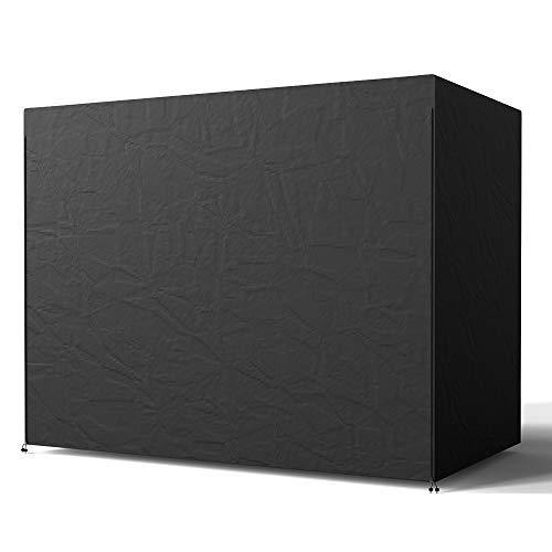 Wrighteu - Copri dondolo impermeabile per dondolo da giardino a 3 posti, in poliestere nero, completamente resistente alle intemperie, 170 x 125 x 220 cm
