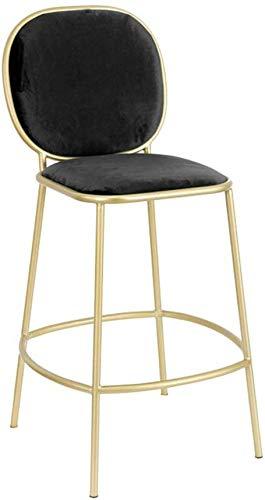 YLCJ barstoel voor thee, balkon, terras, kruk, eetkamertafel met eettafel van staal met rugleuning, hoogte van de barkruk 72 cm (kleur: donkergroen) Zwart