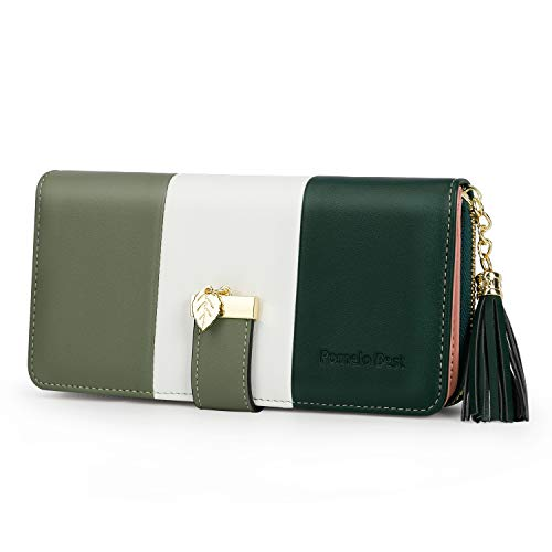 Pomelo Best Damen Geldbörse Mehrfarbig gestreift Portmonee (Olivgrün)