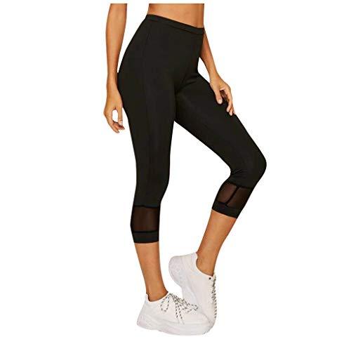 SHINEHUA Damen Yoga Sport Hose Workout Training Capri Leggings Mesh Yogahose Strumpfhose Sports Hosen Fitness Tights Hohe Taille Hosen Stretch Jogginghose Sporthose