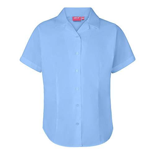 Unbekannt Mädchen Damen Enganliegende Bluse mit Revere Kragen und kurzen Ärmeln, Schuluniform, Bürokleidung - Himmelblau, 30 (9-10 Jahre)