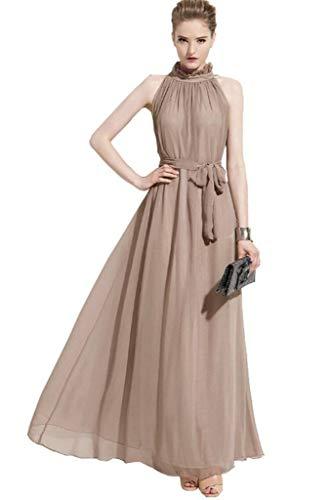 ERGEOB Damen Sommer Kleid Elegante Cocktail Party Floral Kleider Maxi ärmellosen Chiffon Abendkleid Strandkleid Khaki