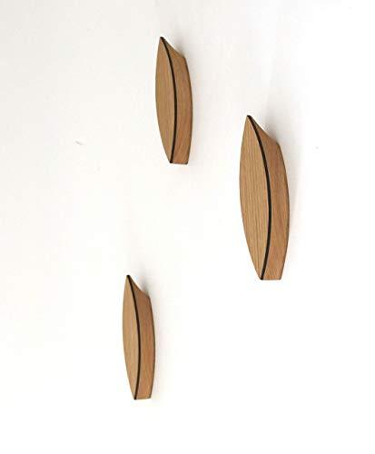 Kleiderhaken aus Holz - einzeln - modernes Design - Wandhaken Garderobenhaken Handtuchhaken Garderobenleiste, Eiche
