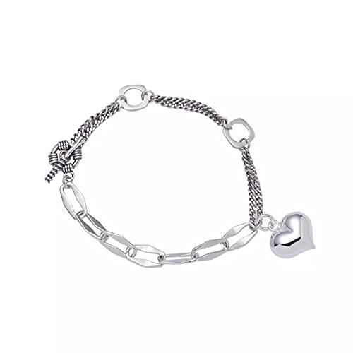 Pulseras De Plata De Ley 925 con Dije De Corazón De Amor para Mujer, Accesorios, Pulseras De Cadena De Eslabones, Joyería De Moda