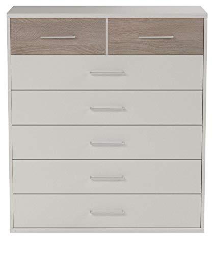 Wimex Kommode/ Schubladenkommode Click, 7 Schubladen, (B/H/T) 103 x 91 x 40 cm, Weiß/ Absetzung Eiche Sägegrau