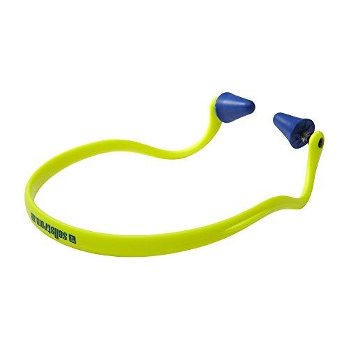 Sellstrom Reusable Banded Ear Plugs, Hearing Protection for Work, 25dB NRR, Hi-Viz Green/Blue, S23430