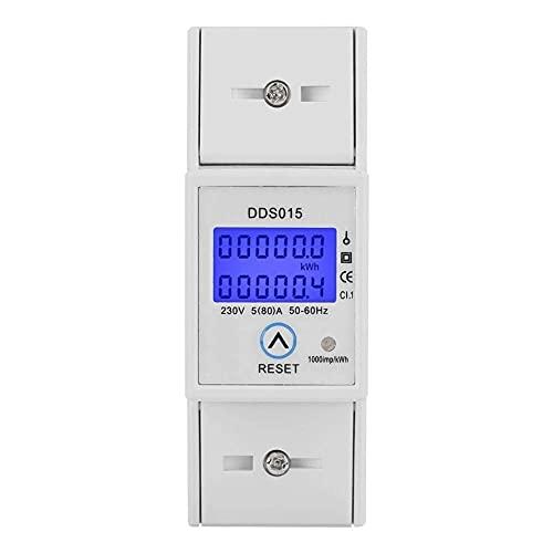 5-80A 230V 50Hz Affichage LCD numérique Compteur d énergie monophasé Wattmètre Montage sur rail DIN KWh DDS015 Protection contre les surcharges Économie d énergie