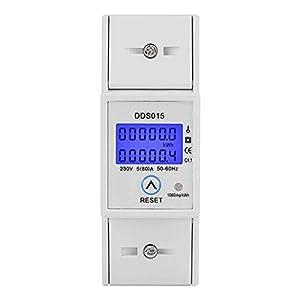 5-80A 230V 50Hz Medidor de Consumo Electrico Pantalla LCD Digital Medidor de Energía Monofásico Medidor de Vatios Montaje en Riel DIN KWh DDS015 Protección Contra Sobrecarga Ahorro de Energía