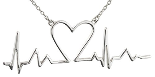 FashionJunkie4Life Sterling Silver EKG Heartbeat with Heart Pendant Necklace, 18' Chain