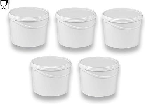 5 x 10 Liter Eimer mit Deckel weiß, stapelbarerer Milch-/Vorratseimer, Honigeimer Kunststoffeimer mit Lebensmittelfreigabe, Lebensmittelechte Behälter, Leereimer für Mehl, Wassereimer, 5 Stück