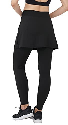 Westkun Pantalones de Falda de Mujer La Altura del Tobillo Skapri de Deportes Suaves y Informales Tenis Golf Rock Legging Tela elástica 2 en 1(Negro-Falda Corta,M)