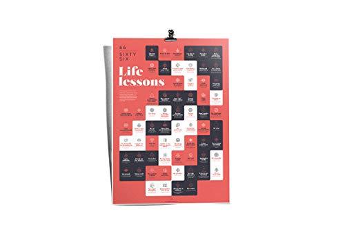 66 Life Lessons -Classic Red A2 motivatieposter voor de dagelijkse herinnering aan 66 levenswijsheden voor meer inspiratie, aandachtzaamheid, motivatie, disciplines en levensvreugde