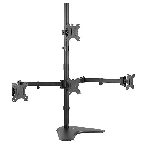 VIVO Quad 13 to 24 inch LCD Monitor Mount, Freestanding Desk Stand, 3 Plus 1 Articulating Display, Holds 4 Screens, VESA up to 100x100mm (STAND-V104B)