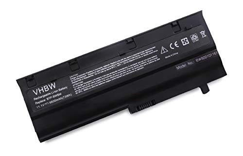 vhbw Batterie LI-ION 6600mAh 10.8V Noire/Black pour MEDION MD96630, MD96640, MD 96630 96640, remplace BTP-C2BM, BTP-CFBM, BTP-C1BMm etc.