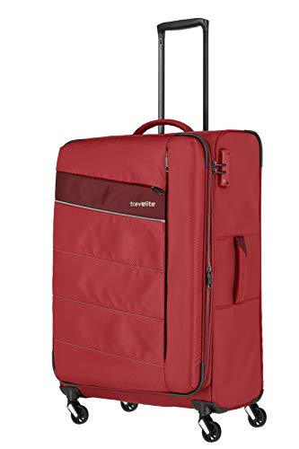 Travelite 4-Rad Weichgepäck Koffer Größe L mit Dehnfalte + TSA Schloss, Gepäck Serie KITE: Extrem leichter Trolley im sportlichen Design, 089949-10, 75 cm, 95 Liter (erweiterbar auf 109 Liter), rot