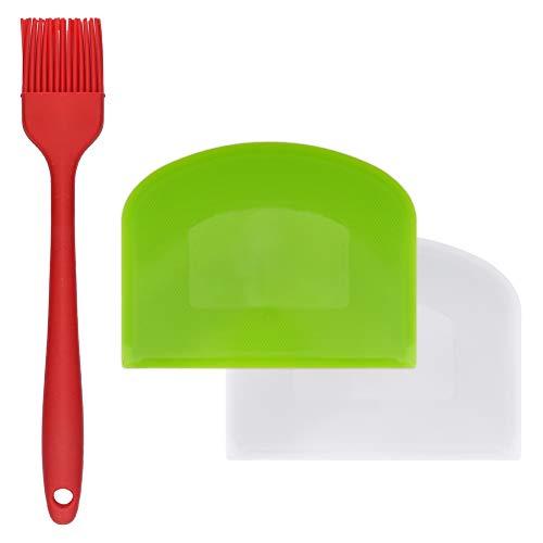 Pengxiaomei - Rascador de masa, 2 unidades, flexible, apto para alimentos, cortador de masa de plástico, herramienta con cepillo de aceite de silicona para pan, masa y fondant