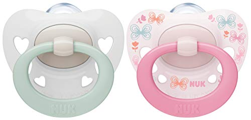 NUK Signature Schnuller | 0-6Monate | BPA-freier Schnuller aus Silikon | rosa Herzen | 2Stück