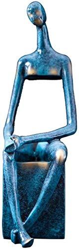 Unique Crafts Sculpture abstraite dansante en polyrésine pour décoration de maison, bureau, salon, armoire à vin, jardin nordique (couleur : bleu, taille : 36 cm)