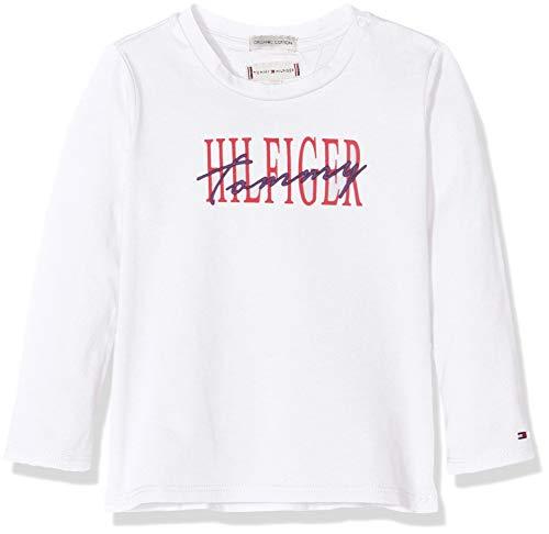Tommy Hilfiger Essential Graphic tee L/s Camiseta, Blanco (Bright White 123), 86 para Bebés
