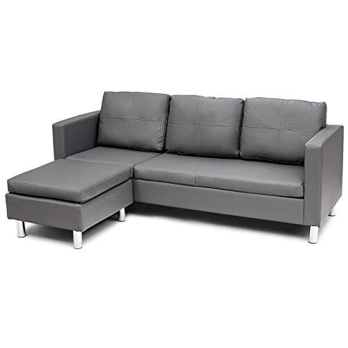 COSTWAY 3 Sitzer Sofa mit Ottomane, Ecksofa Kunstleder, Couchgarnitur, Schlafsofa, Sofagarnitur perfekt für Zuhause und Büro, grau