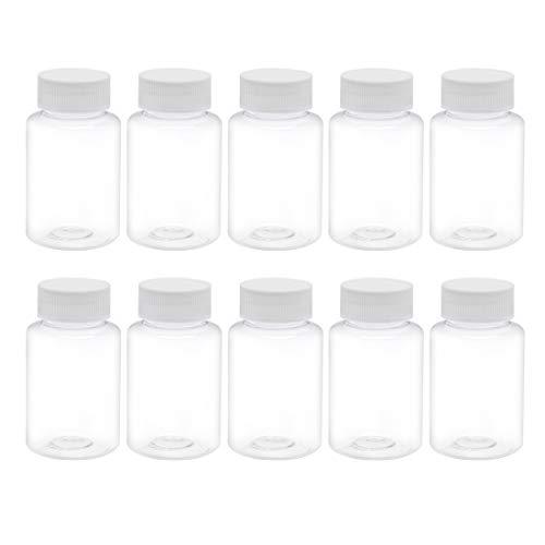 sourcing map 10stk. Flasche 100ml PET Labor Reagenzflasche Weithalsbehälter Transparente Kunststoff