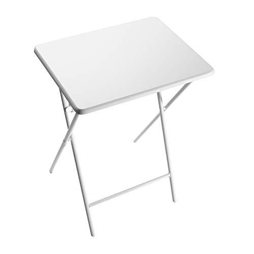 Versa Lyon Mesa plegable pequeña para la cocina, la terraza o el salón. Mesa auxiliar sencilla y fácil de guardar, Medidas (Al x L x An) 66 x 38 x 48 cm, Madera MDF y Metal, Color Blanco