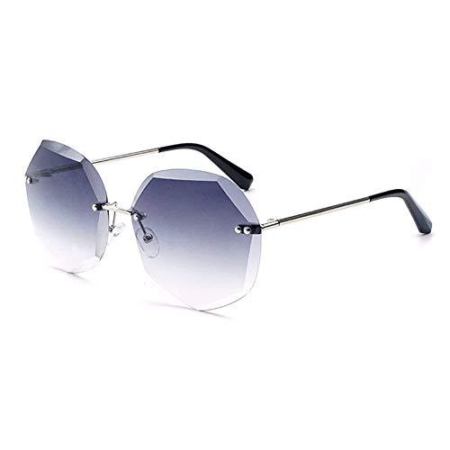 Stella Fella Gafas de sol con corte de cristal para mujer de Europa y los Estados Unidos, protección UV400, montura plateada, lente degradada (color: gris)