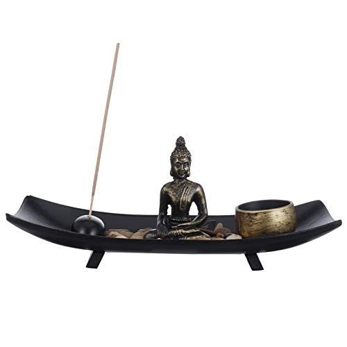GOTH Perhk Sitting Buddha Ornament Zen Garden Candle Holders, Incense Stick Holder Candle Tray, Natural Stone Rattan Incense Gift Set