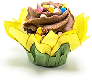 Wedding Chocolates Wrapper - Luxury Wedding - Handmade Paper Truffle Cups, Truffle Liners, Truffle Wrappers - Pack of 20 - Truffilio (Sunflower)
