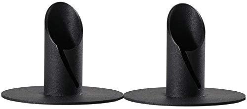 Metall Kerzenständer, 2 Stück Schwarz Kerzenhalter, ideal für Stabkerzen, Stabkerze Hoch, Taufkerze, Handgearbeitete Qualität Vintage Deko Kerzenleuchter für Wohnzimmer Schlafzimmer Tischdeko