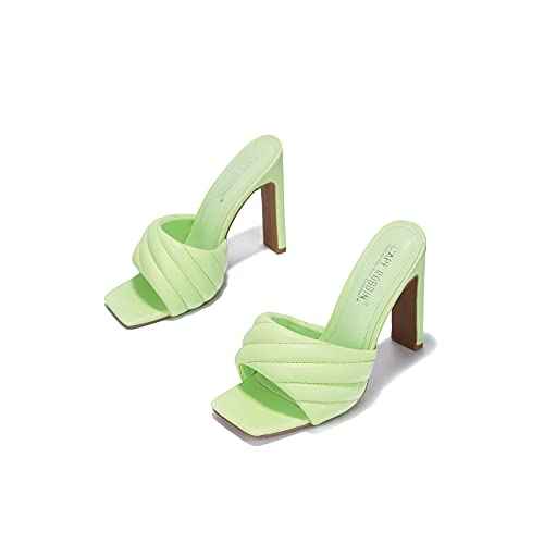 Cape Robbin Lorelai Sexy Woven High Heels for Women, Square Open Toe Shoes Heels- Lime Size 8.5