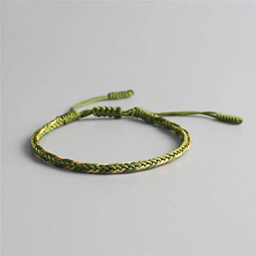 ANGYANG Woven Bracelet,Olive Green Rope With Golden Thread Handmade Woven Adjustable Charm Bracelet Tibetan Buddhist Simple Friendship Gift For Boy Girl Couples Men Women