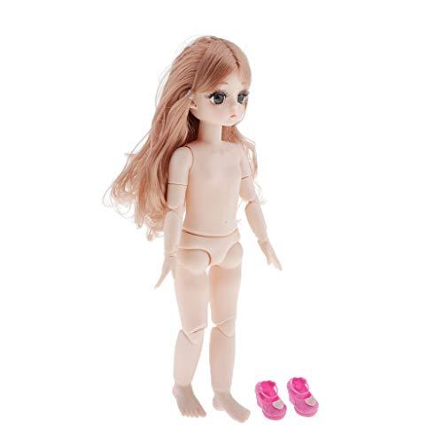 SM SunniMix Kugelgelenk Mädchenpuppen Bewegliche Puppe mit Haare und Schuhe für 28cm BJD Puppen DIY Zubehör - Kaffee