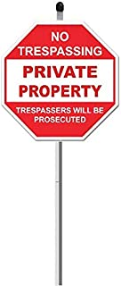 """SecurePro Products Private Property Sign Kit - Includes ONE Each of: 9"""" x 9"""" Red & White PVC Private Property Sign + 3 Piece Long Aluminum Post Stake + Black Finishing Cap + Double-Sided Tape (34)"""