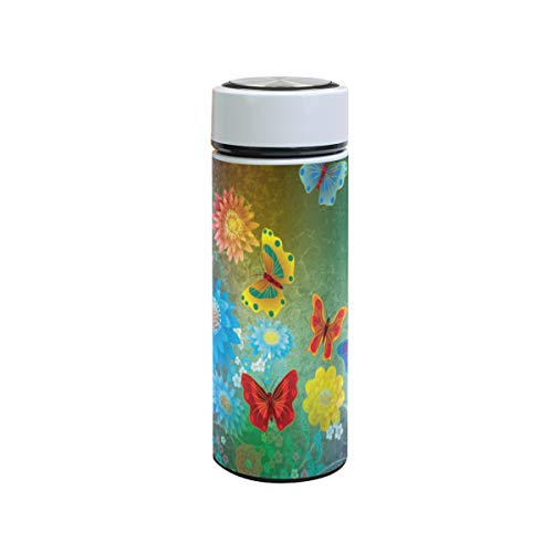 XiangHeFu Kleurrijke kunst vlinder sport reisbeker 12oz Houd koud of warm thermoskan lekvrij waterfles thee