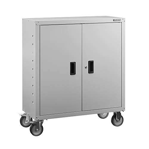 AREBOS Armario archivador para oficina, color gris, 105,5 x 40 x 90 cm, 2 puertas, con ruedas, estante regulable en altura, con cerradura de cilindro