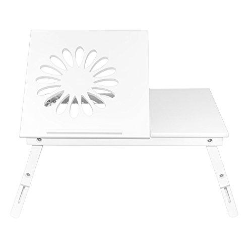 NEG Notebook-Tisch NegTray Flower Flora (weiß) Laptop-Tray/Knietablett mit höhenverstellbare Füßen/Scharnier-Ablage aus Echt-Holz + Belüftung