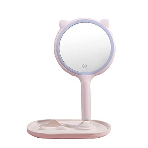 Espejo de Maquillaje Espejo de Pantalla táctil con Brillo LED Espejo Ajustable Luz de Relleno USB Luz de Tres Colores - Rosa 24X14X34Cm