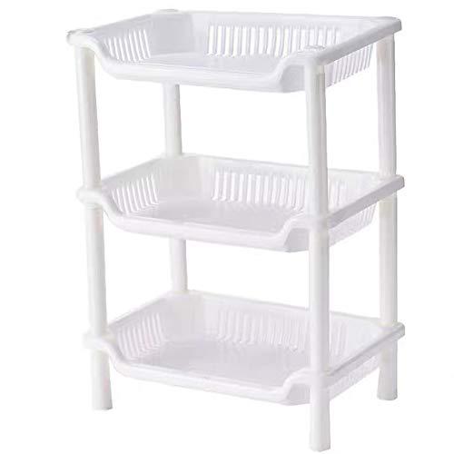 GCBTECH Estantería pequeña con 3 estantes, para cocina o baño, color blanco, 24 x 33 x 18 cm