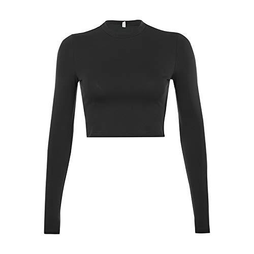 Camiseta Ajustada de Cuello Redondo para Mujer, Moda Sexy, Tendencia, Manga Larga, Simple, básico, Todo fósforo, Jersey Corto de Fondo S