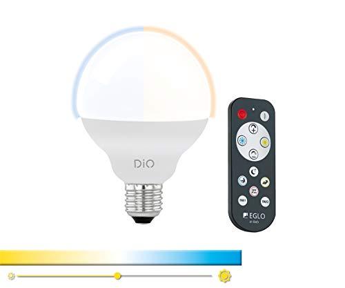 EGLO Access LED E27 Lampe, Glühbirne, Farbtemperatur einstellbar (warm-kalt), Lampe mit Fernbedienung, 12 Watt (entspricht 75 Watt), 1055 Lumen, E27 LED dimmbar, LED Leuchtmittel G95, Ø 9,5 cm