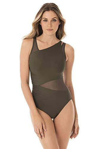 Miraclesuit Women's Swimwear Illusionist Azura One Piece Underwire Bra Mesh Inset All Over Control Swimsuit, Olivetta, 14