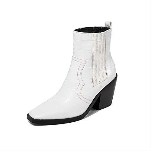 SHZSMHD Markenmode Geprägte Mikrofaser PU Leder Stiefeletten für Frauen Spitzstiefel Frauen Wedges Pumps Runway Schneeschuhe 9,5 Weiß