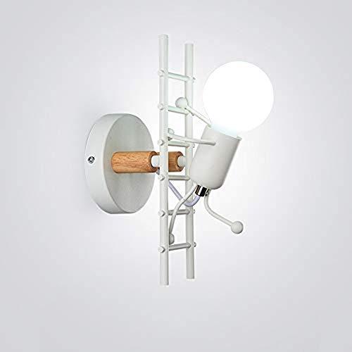 Humanoid Kreative Wandleuchte Innen Wandlampe Modern Kerze Wandleuchte Max 60W E27 Basis Eisen Halter für Kinderzimmer, Schlafzimmer, Wohnzimmer, Treppe, Flur, Restaurant (Weiß)