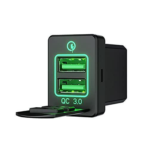 SJZERO Cargador de Coche de 12-24 V Mini portátil QC 3,0 Cargador de Coche USB Doble Cuadrado Universal con Pantalla Digital LED para teléfonos Android