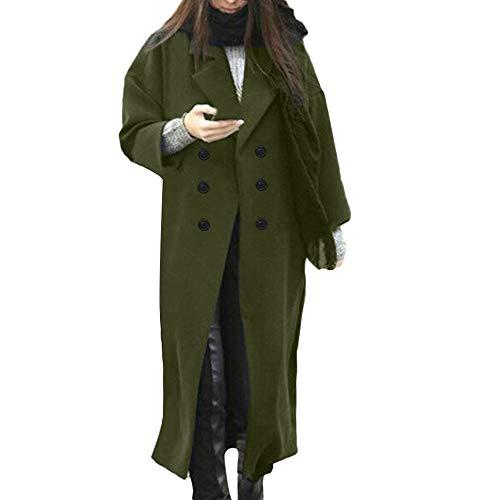 Fashion Womens Winter Coat Lapel Wool Tops Trench Jacket Long Overcoat Outwear Army Green